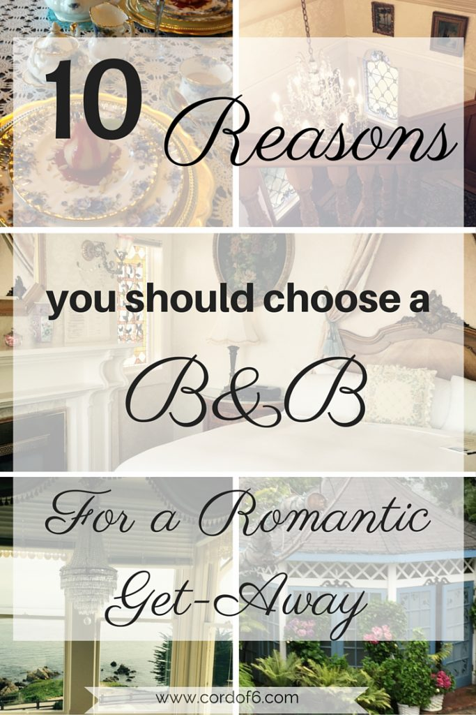 Have you ever thought about staying in a Bed and Breakfast? Here are the top 10 reasons why you should choose a bed and breakfast for a romantic getaway.