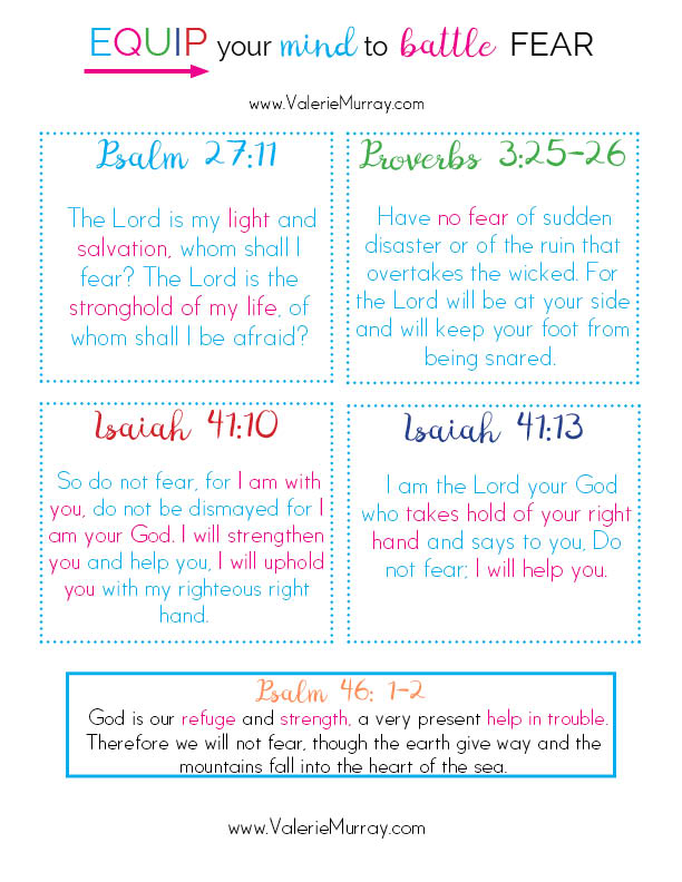 Equip your mind to battle fear! Subscribe to the newsletter and receive these 27 verses to fight fear along with free access to the library of printables!