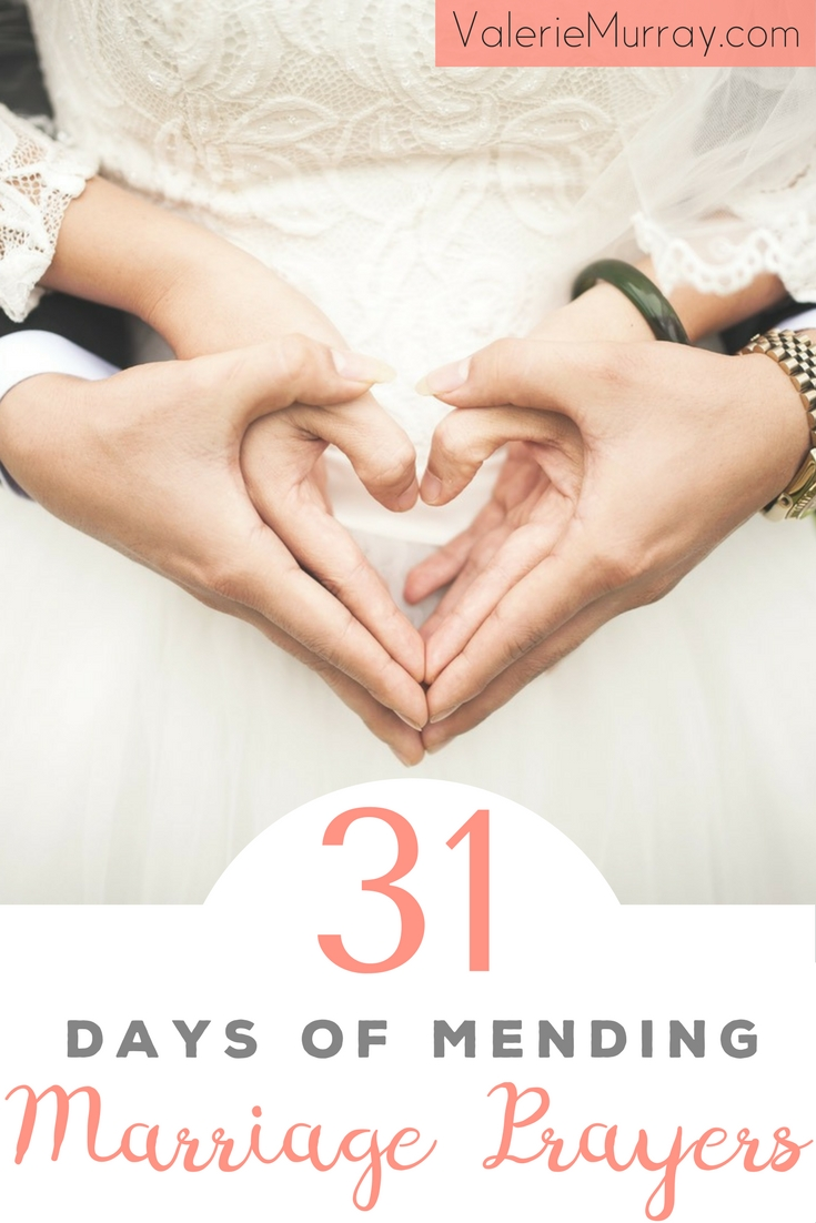 31 Days of Mending Marriage Prayers will help you restore the broken places in your heart as you pray for God to mend your marriage in specific areas. FREE! A daily prayer sent to your inbox–each based on a scripture verse to help you grow in learning to love your spouse with grace.