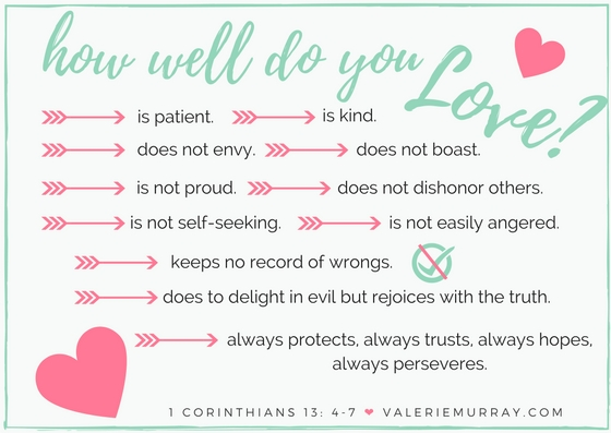 How well do you love others? Take the 1 Corinthian's chapter 13 love test. When we appreciate the great measure of love the Heavenly Father has for us, we can learn to love others as He loved us.