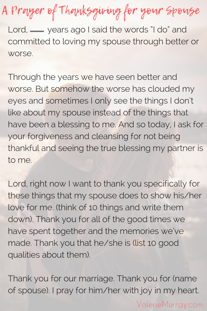 A Prayer of Thanksgiving for your Spouse - Valerie Murray